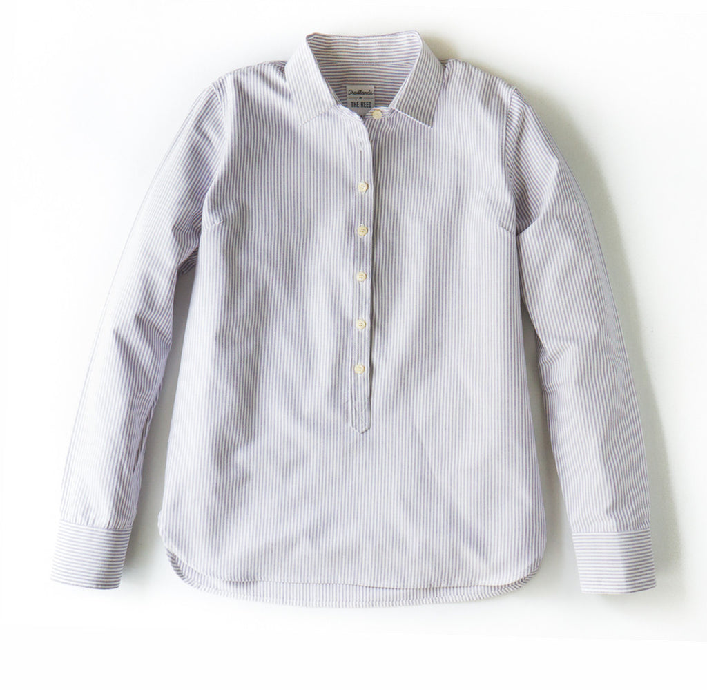 Oxford cloth women's shirt - popover, striped.