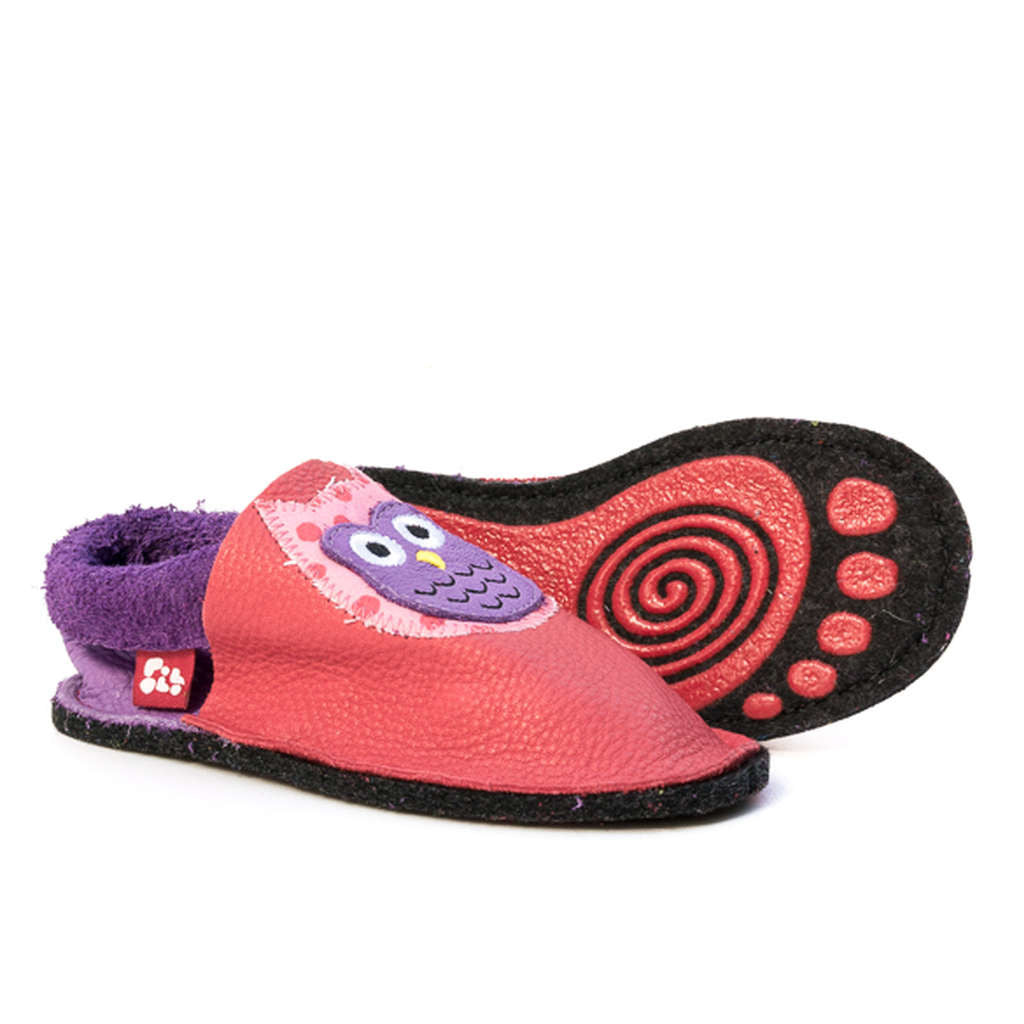 Children's indoor leather slippers