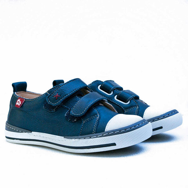 Kids leather Pololo Sol sneaker, navy.