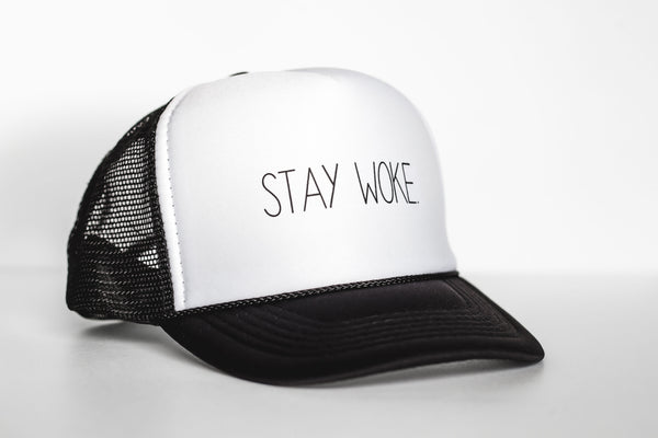 Stay Woke (white) - Snapback Trucker Hat