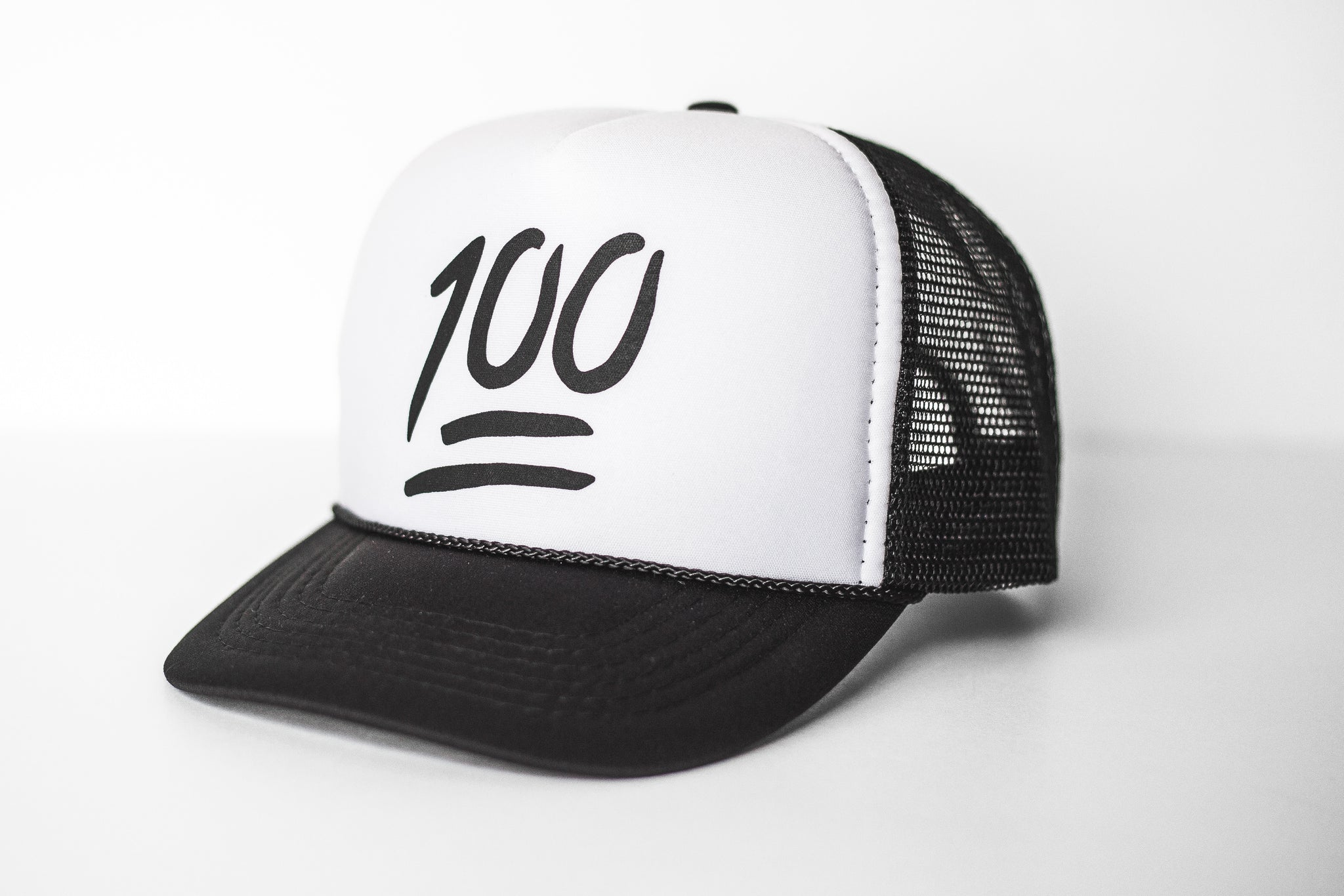 100 (white) - Snapback Trucker Hat