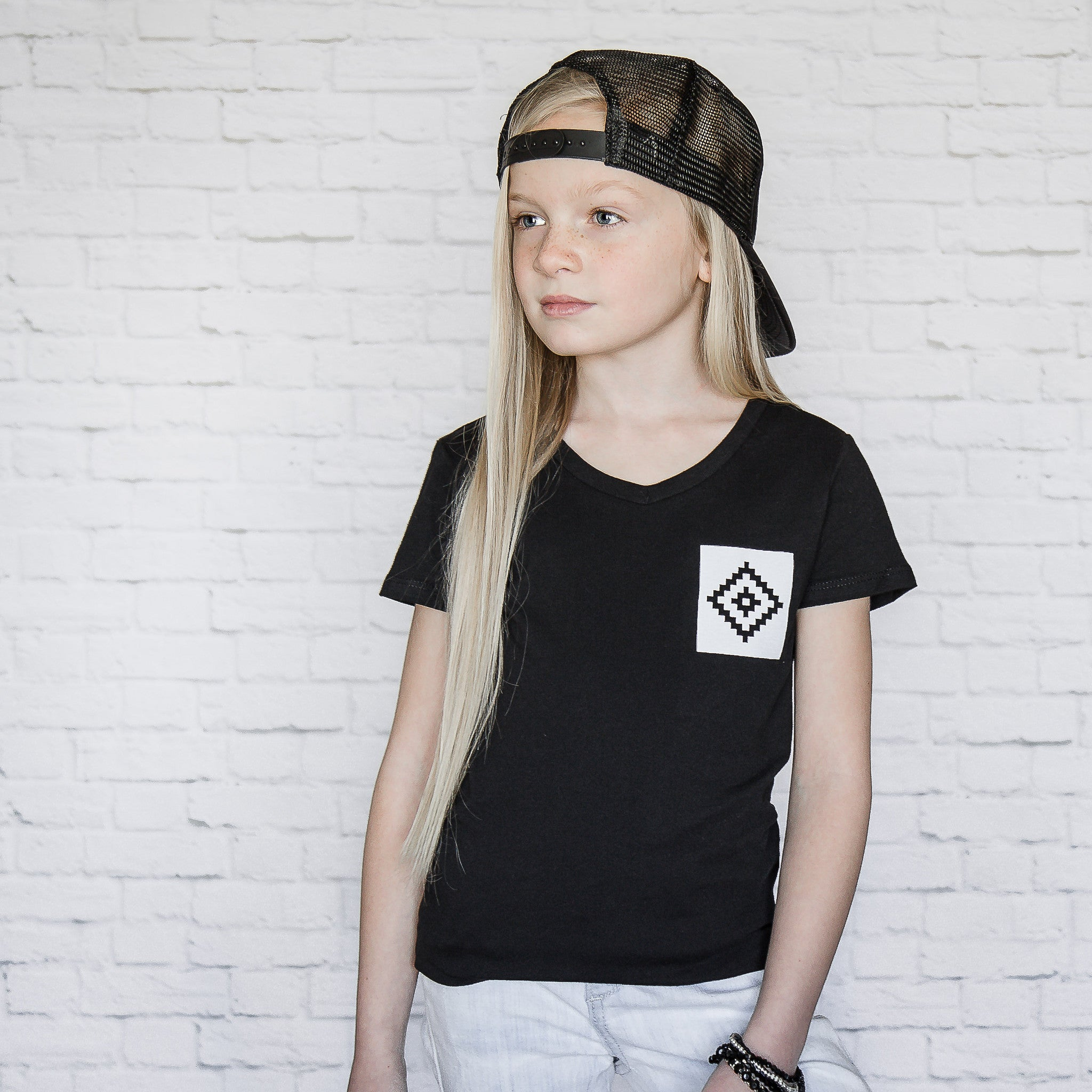 Tribal - Faux Pocket V-neck Tee (Girls)