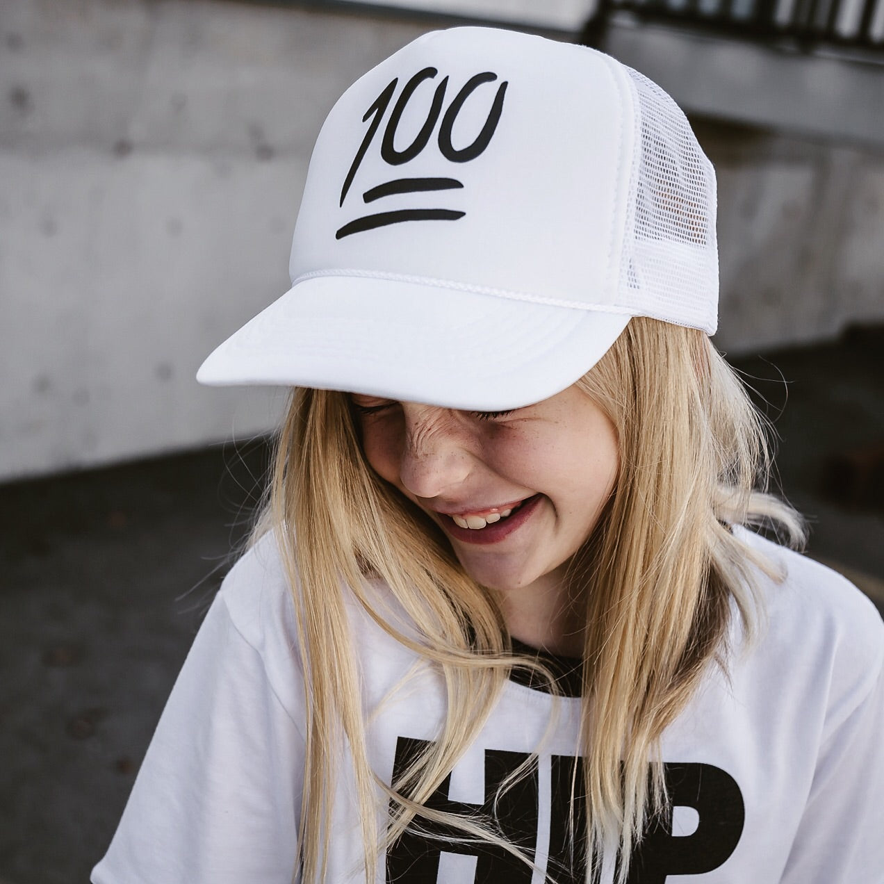 100 (all white) - Snapback Trucker Hat