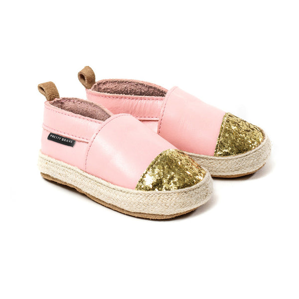 Pretty Brave Espadrille Pink with glitter toe