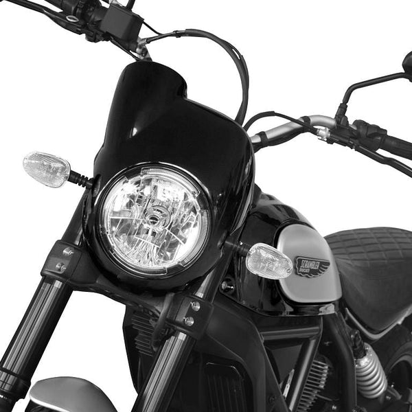 Pyramid Plastics Headlight Fairing, Black (Ducati Scrambler)