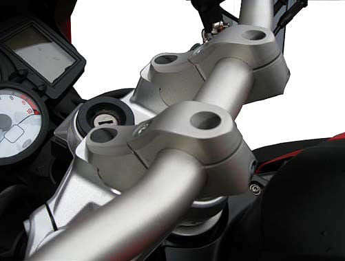 MV Verholen Handlebar Risers with Longer Brake Line, 50mm Rise (F800R 2015+)
