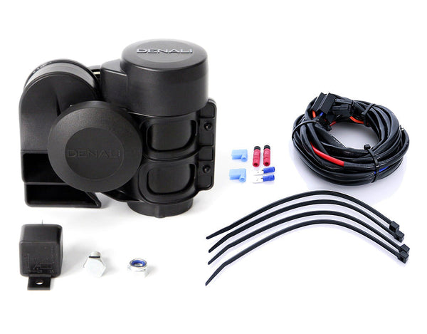 DENALI SoundBomb Compact Dual-Tone Motorcycle Air Horn Kit | Horn & Wiring Harness