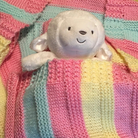 Cheery, hand knit baby blankets, made with 100% acrylic yarn - Knittins With Kittens - 1