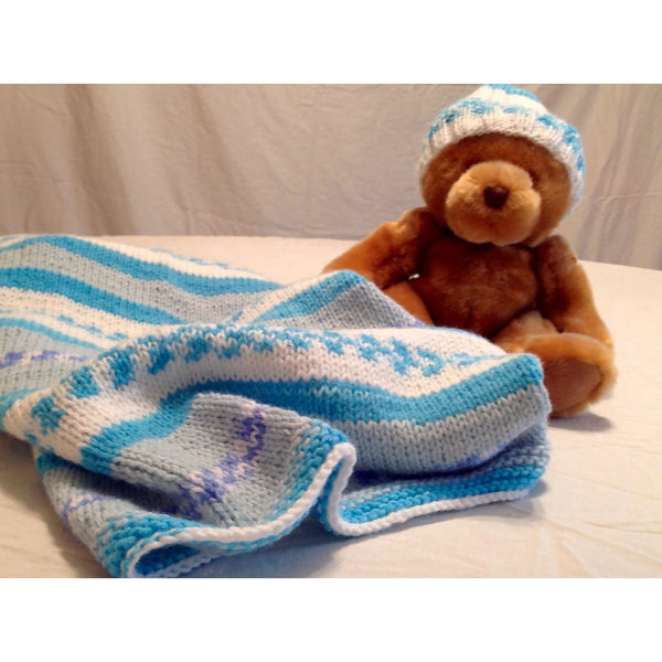 Hand knit baby blanket with matching hat - Knittins With Kittens - 1