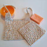 Hand knit bib & washcloth complete with baby powder-scented soap - Knittins With Kittens - 1