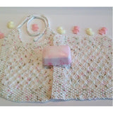 Hand knit bib & washcloth complete with baby powder-scented soap - Knittins With Kittens - 2