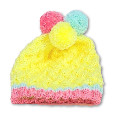 Colorful hand knit baby hat with pompoms  *** Custom Order *** - Knittins With Kittens - 1