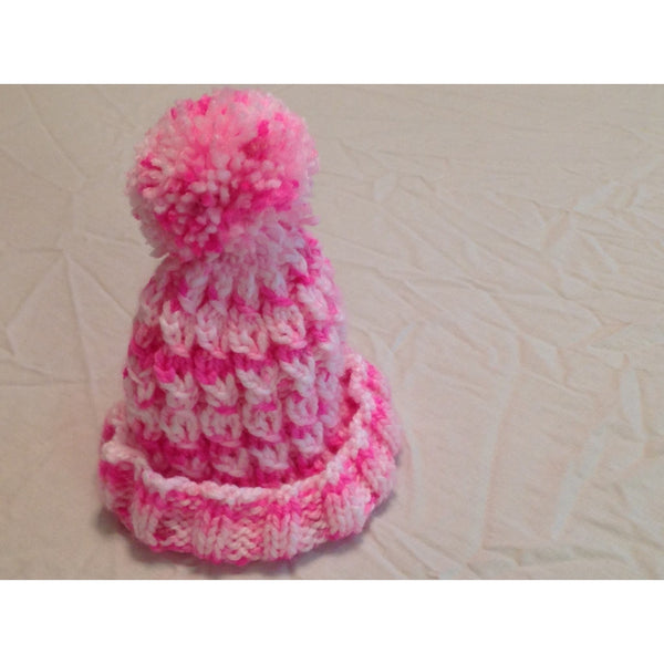 Hand knit pink baby girls hat - Knittins With Kittens - 1