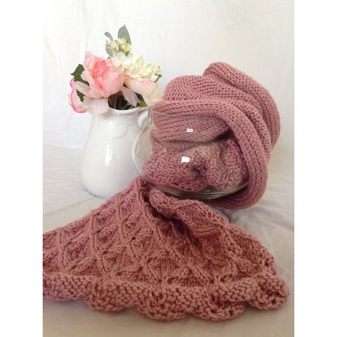 Custom Order this Hand knit scarf in a diamond lace motif - Knittins With Kittens - 1