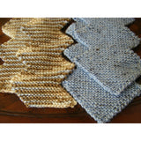 Hand knit zigzag scarf in blue or brown tweed - Knittins With Kittens - 2