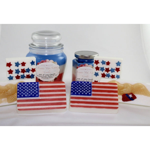 4th of July Celebration!!! 3 different designs of soap to choose from & 2 sizes of candles - all in red, white and blue!!-Knittins With Kittens