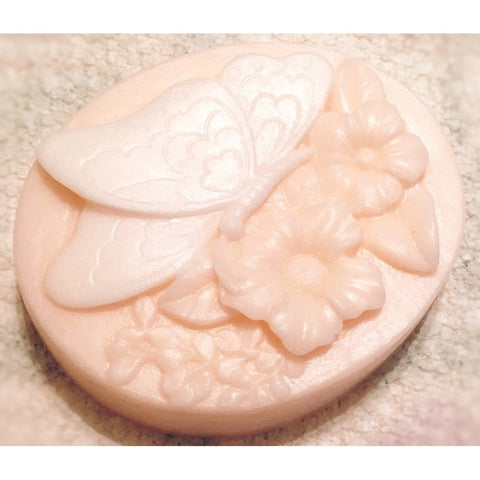 Delicate decorative soap with a butterfly alighting upon flowers - Knittins With Kittens - 1