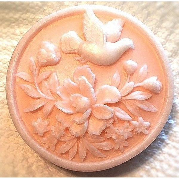 Elegant  decorative soap with white dove on your choice of color soap - Knittins With Kittens - 1