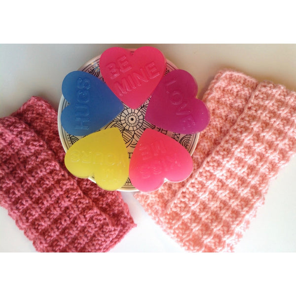 Novelty Neon Valentine's Heart Soaps-Knittins With Kittens