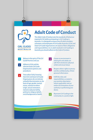 A3 Adult Code Of Conduct Poster - Guides Queensland Guide Supplies