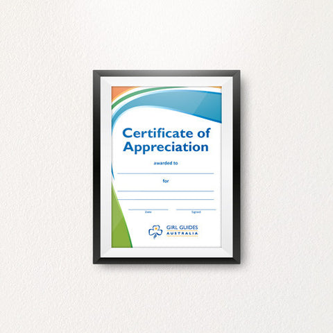 Appreciation Certificate A4 - Guides Queensland Guide Supplies