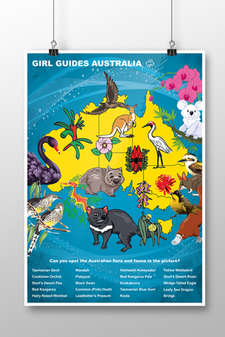 A3 Australia Fauna and Flora Map Poster