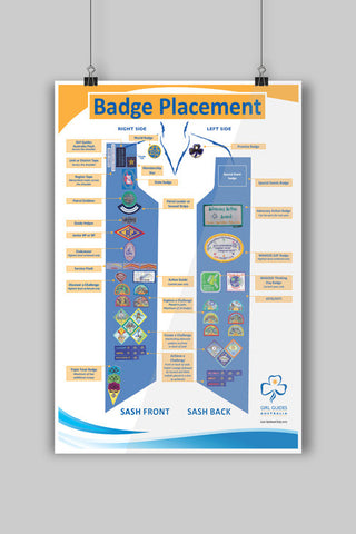 A3 Badge Placement Poster - Guides Queensland Guide Supplies