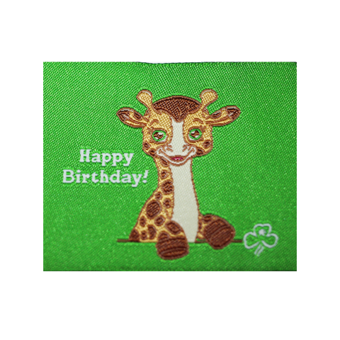 Happy Birthday Cloth Badge - Giraffe