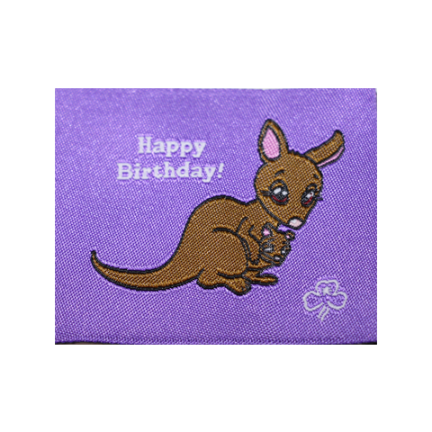 Happy Birthday Cloth Badge - Kangaroo
