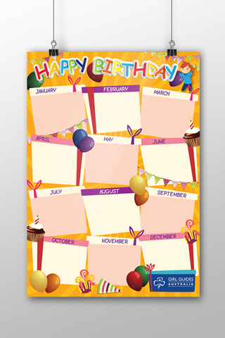 A3 Happy Birthday Poster - Orange