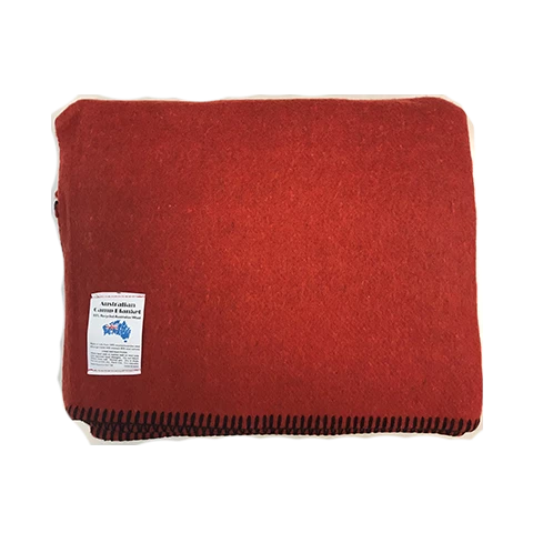 Wool Blend Camp Blanket - Rust