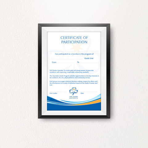 Certificate of Participation - Guides Queensland Guide Supplies