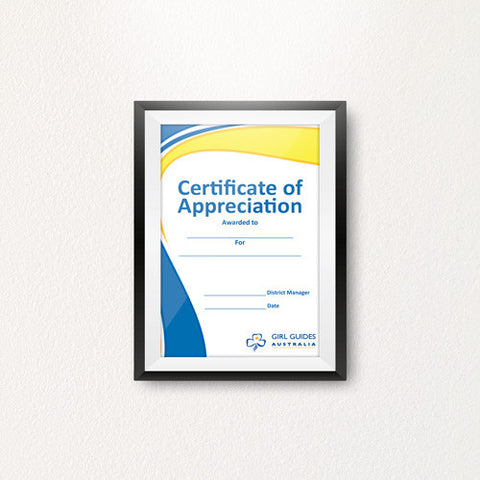 Appreciation District Manager A4 Certificate - Guides Queensland Guide Supplies