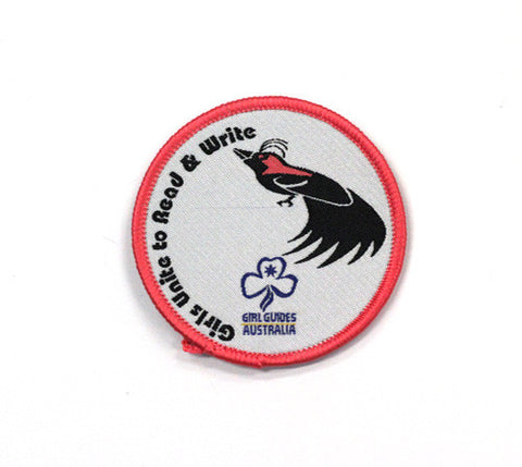 Girls Unite to Read and Write Cloth Badge - Guides Queensland Guide Supplies