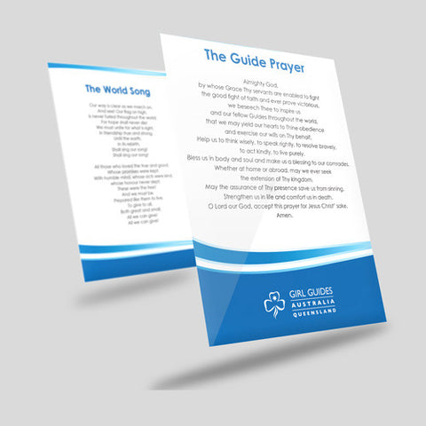 World Song and Guide Prayer Card - Guides Queensland Guide Supplies
