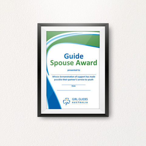 Spouse Award Certificate - Guides Queensland Guide Supplies