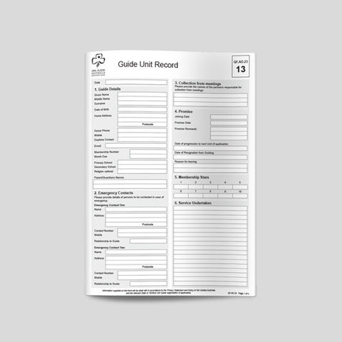 Unit Record Form for Girls - Guides Queensland Guide Supplies - 1