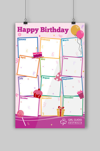 A3 Happy Birthday Poster - Guides Queensland Guide Supplies