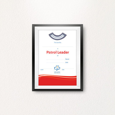 Patrol Leader Certificate - Guides Queensland Guide Supplies