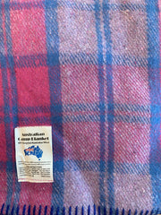 Wool Blend Camp Blanket - Pink Check