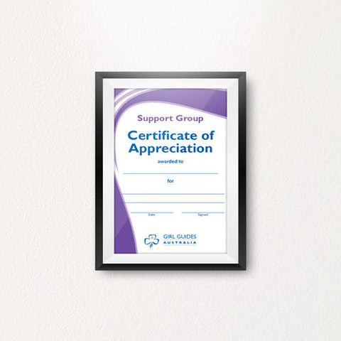 Appreciation Certificate Support Group A4 - Guides Queensland Guide Supplies