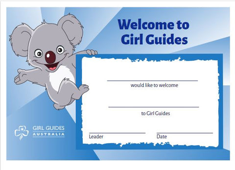 A5 Welcome To Guides Certificate - Koala
