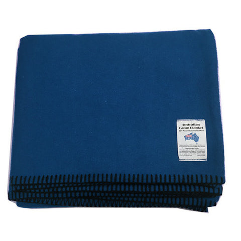 Wool Blend Camp Blanket - Mid Blue