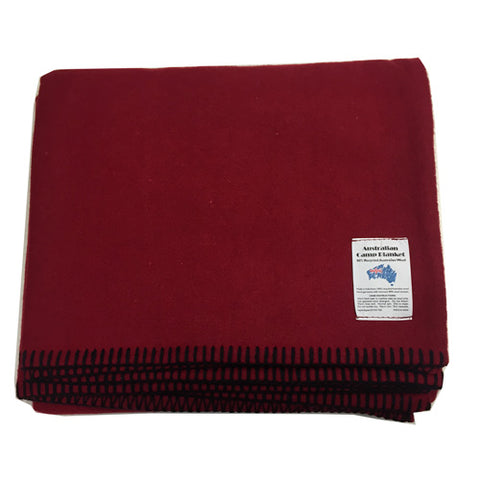 Wool Blend Camp Blanket - Maroon