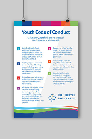 A3 Youth Code of Conduct Poster - Guides Queensland Guide Supplies