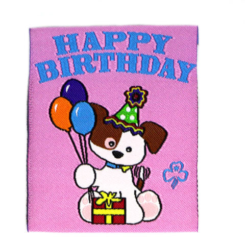 Happy Birthday Puppy Cloth Badge