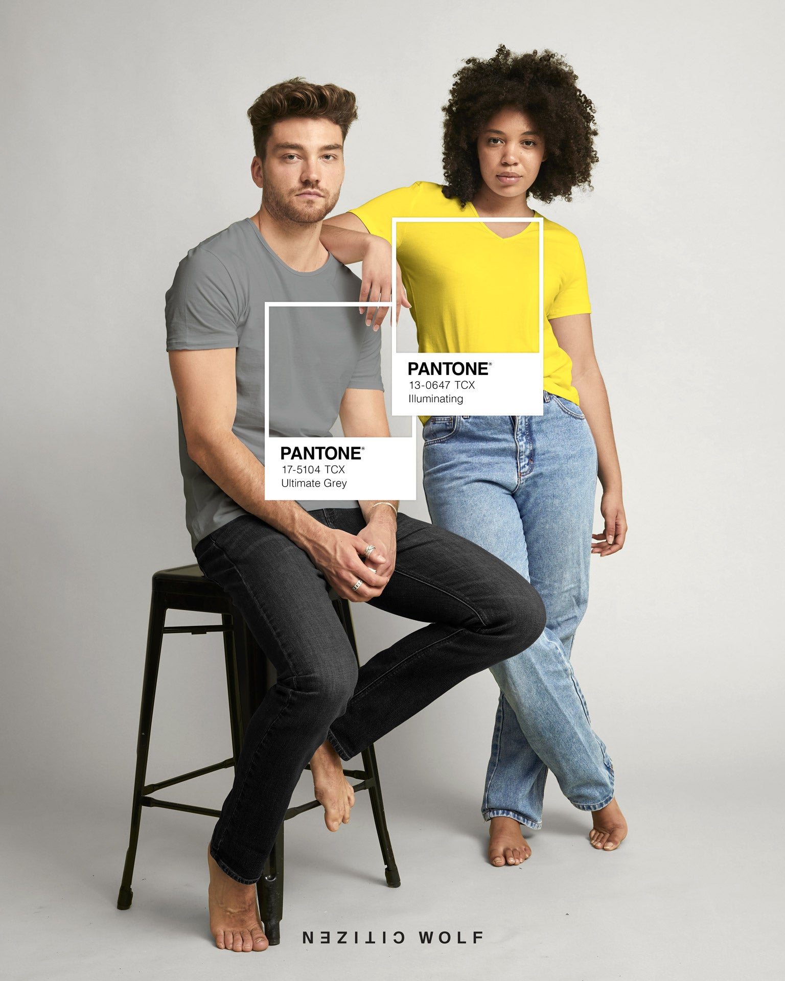 Citizen Wolf x Pantone COTY21 - Ultimate Grey & Illuminating Yellow Tshirts for him and her