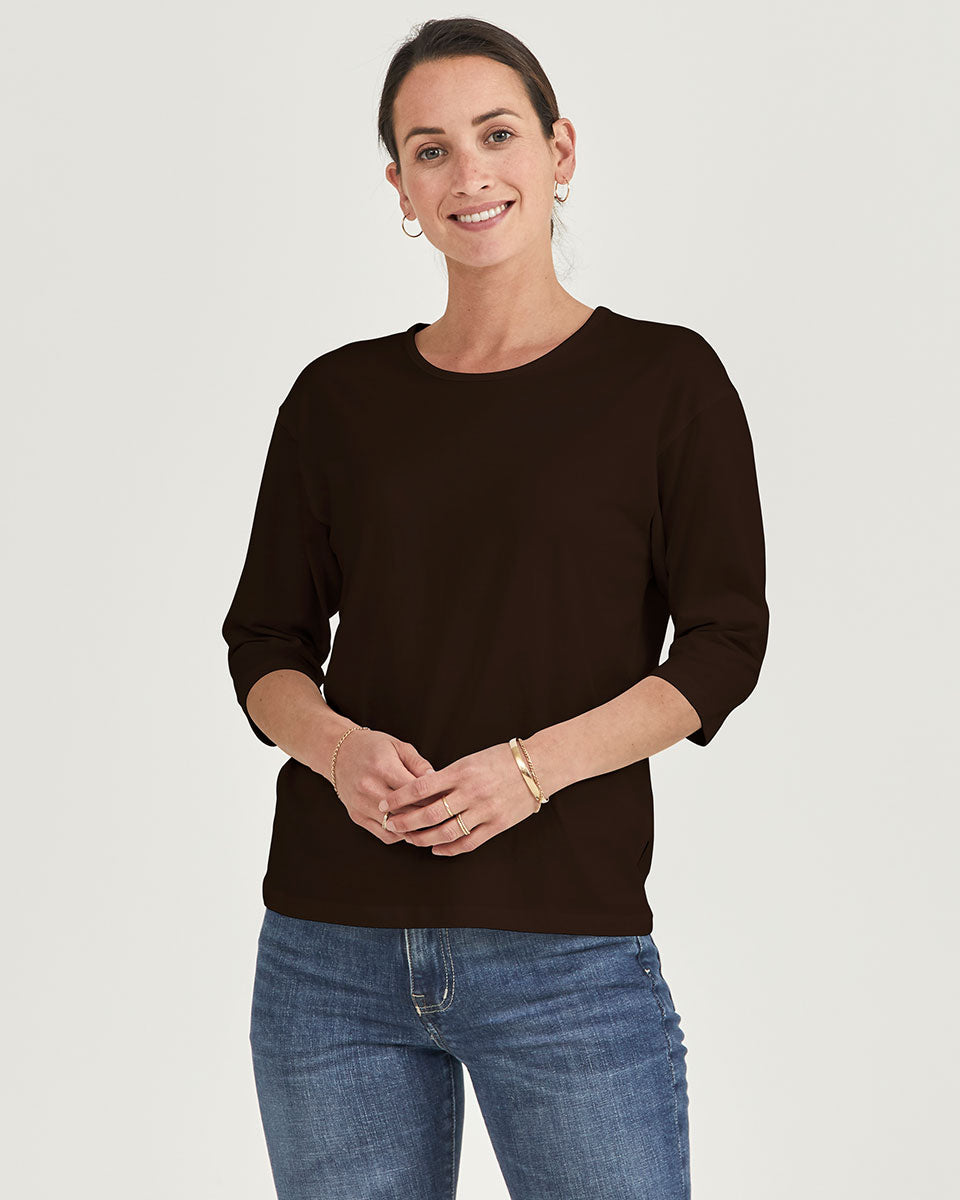 The Womens Relaxed 3/4 Crew in limited edition Xocolatl Organic Cotton   Citizen Wolf