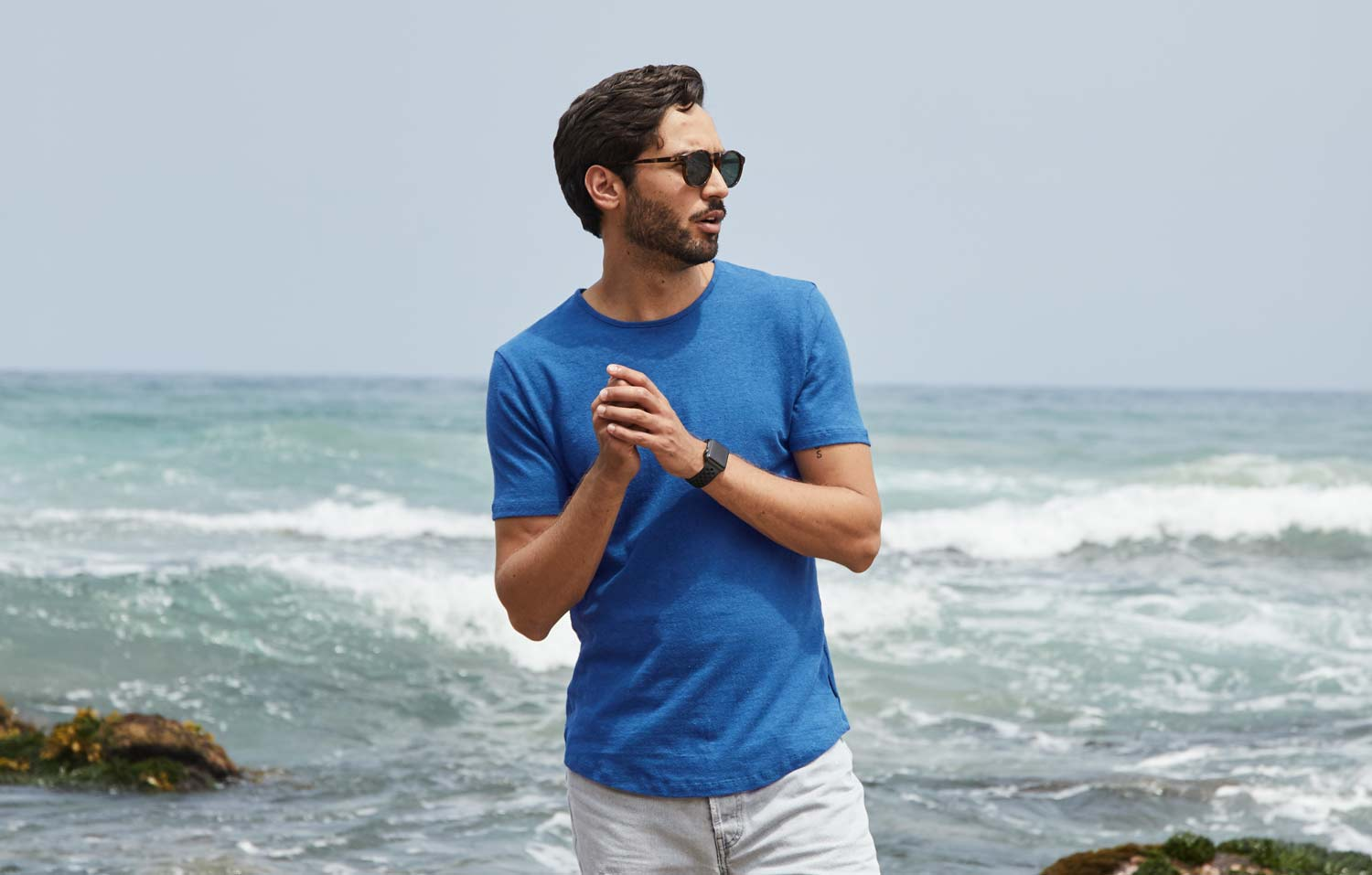Pantone Colour of the Year 2020 Classic Blue Mens Tshirt by Citizen Wolf