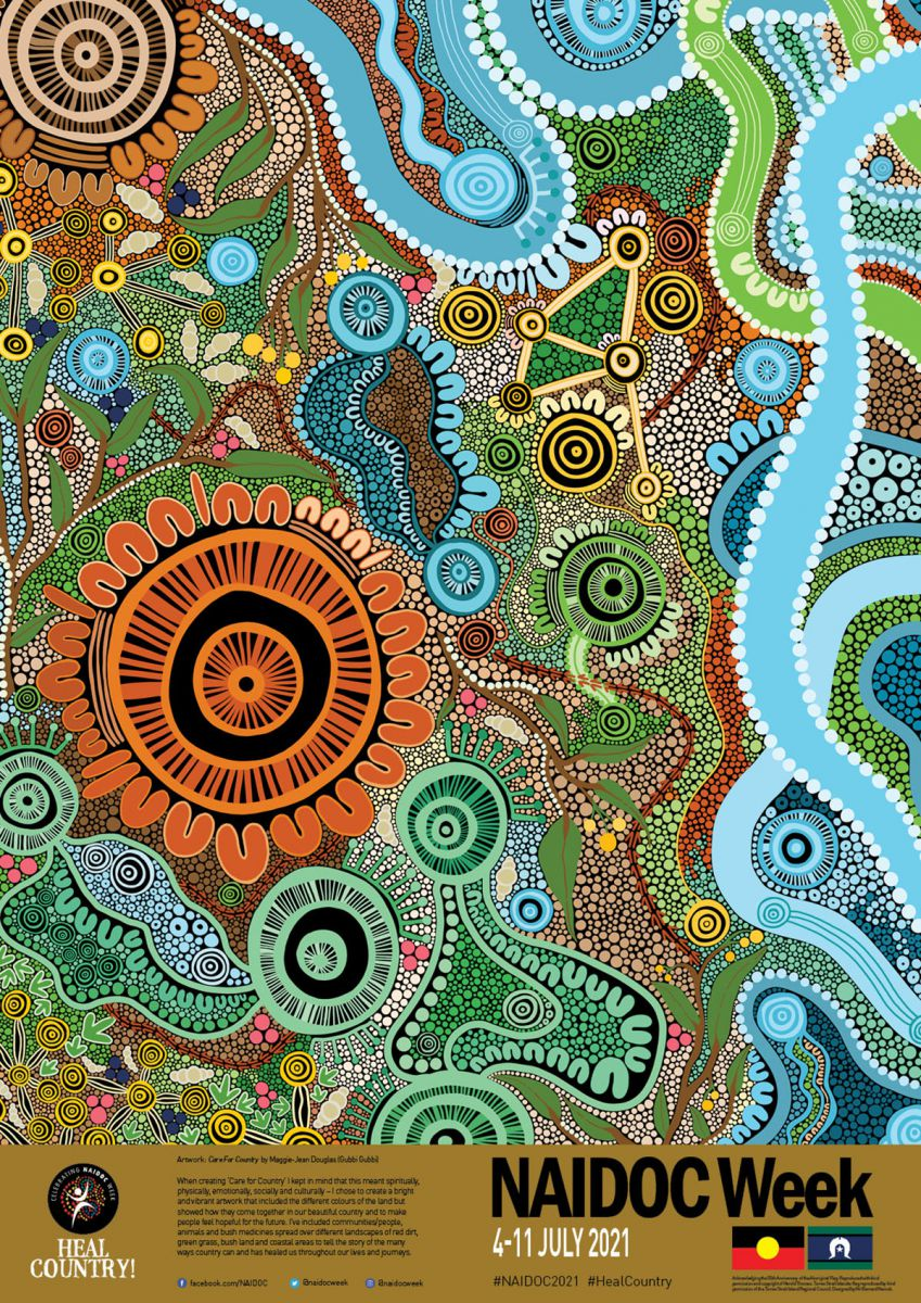 2021 National NAIDOC Poster – Maggie-Jean Douglas 'Care for Country'. The 2021 National NAIDOC Poster incorporating the Aboriginal Flag (licensed by WAM Clothing Pty Ltd) and the Torres Strait Islander Flag (licensed by the Torres Strait Island Council).